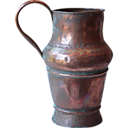 Antique French Large Solid Copper Pitcher