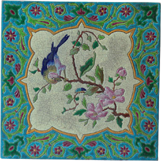 Antique French Art Nouveau Gien Tile of a Bird in Cherry Blossom