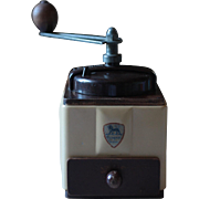 Vintage French Peugeot Freres Cream Enamel Coffee Grinder, or Coffee Mill, Retro