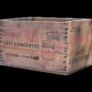 Vintage French Condensed Milk Branded Wooden Box, Storage Box, Flower Box
