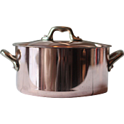 Round French Vintage Copper Cocotte