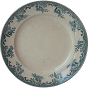 """Antique 12"""" French Green & White Ironstone Plate"""