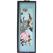 Vintage Asian Framed & Signed Feather Diorama of Peacocks