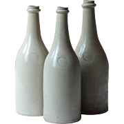 3 Antique French Cream Stoneware Bottles