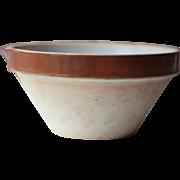 Medium Vintage French Tian Bowl, Cream Making Bowl, Rustic Confit Bowl