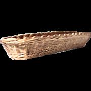 Large Vintage French Rattan Baguette Bread Basket