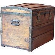 Antique French Wooden Treasure Chest, with Barrel Top