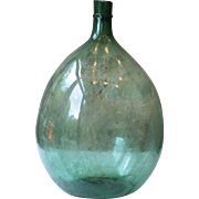 """Large & Heavy 27"""" Antique French Demi-John, or Carboy, in Green"""