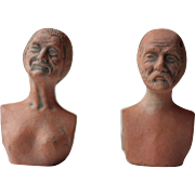 Pair of French Vintage Terracotta Figurines, Vintage Busts from the Saone River
