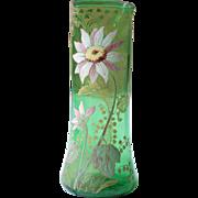 Antique French Green Glass Vase, Art Nouveau Vase, Art Nouveau Glass, Enameled Glass