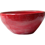 Vintage French Ceramic Noodle Bowl in Bright Red, Mid Century Ceramics