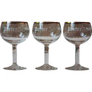 Set of 3 Vintage Porter 39 Beer Glasses