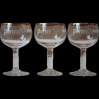 Set of 3 Vintage Porter 39 Beer Glasses