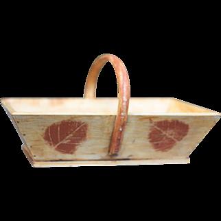 Vintage Small French Wooden Trug, Fruit Basket or Flower Basket