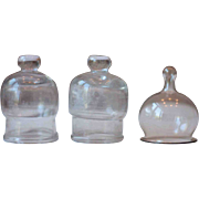 Set of 3 Antique French Ventouse or Cupping Glasses