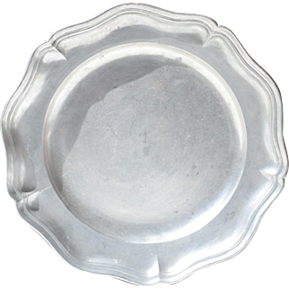 Small Circular French Vintage Pewter Platter - 380g
