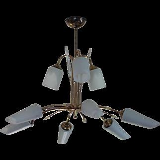 Large White Opaline & Brass Mid Century Pendant Light, Vintage French Sputnik Chandelier
