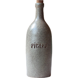 Tall French Vintage Pineau Bottle, Grey Mid Century Bottle, Mid Century Pottery