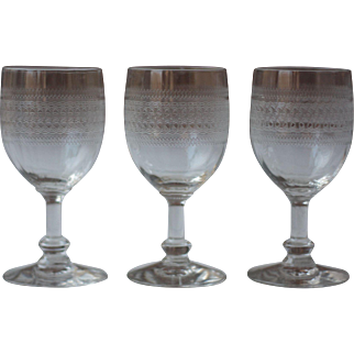 Set of 3 Antique French Engraved, or Etched Liquor Glasses