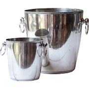 Vintage French Silverplated Champagne Bucket & Ice Bucket Ensemble