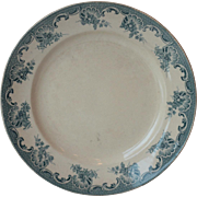 Antique Large French Green Blue Ironstone Plate, Transferware