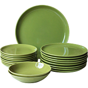 17pc Mid Century French Green Porcelain Dinner Set - Longchamp