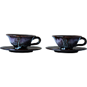 Vallauris Retro Set of 2 Tea Cups, or Coffee Cups