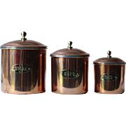 3 Vintage Graduated Copper Pots for the Kitchen