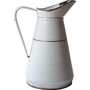 Large White & Gold French Enamel Jug, or Pitcher