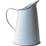 White & Blue French Enamel Jug, or Pitcher