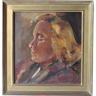 French Mid Century Portrait of a Woman, by Yvette Griotteray