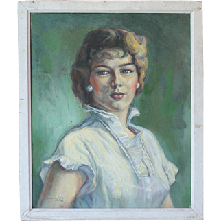 French Mid Century Oil Portrait of a Woman, by Pierre Dillé
