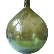 """25"""" Round-Bellied Antique French Green Demi-John, or Carboy"""