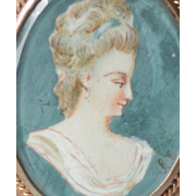 Antique French Miniature Portrait of a Lady, Napoleon III
