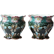 Pair of Antique French Barbotine Majolica Green Floral Planters, De Bruyn