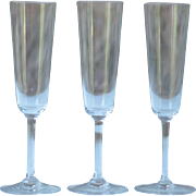 3 Vintage French Crystal Champagne Flutes