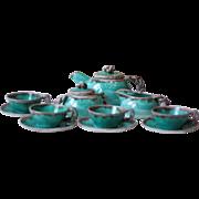 French Vintage Green Porcelain Tea Set - Vence