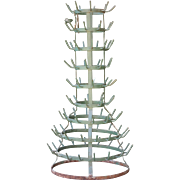 Antique French 100 Bottle Drying Rack in Green, with Provenance