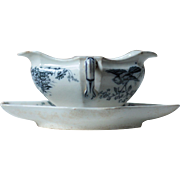 Antique Blue and White Porcelain Sauce Boat - Indiana, BWM & Co