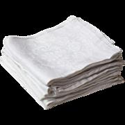 Set of 7 Antique French Damask White Linen Napkins