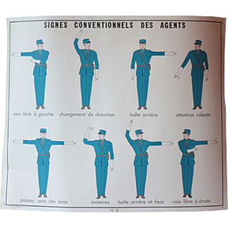Vintage French Mid Century Policemen Poster