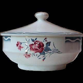 Art Deco Floral Sarreguemines Ironstone Soup Server, or Tureen - Nina Rosa