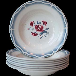 Set of 8 Art Deco Floral Sarreguemines Ironstone Soup Bowls - Nina Rosa