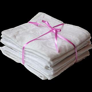 Set of 10 Antique French Damask White Linen Napkins