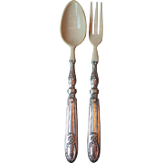 French Antique Silver and Ivoirine Salad Servers