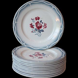 Set of 12 Art Deco Floral Sarreguemines Ironstone Dinner Plates - Nina Rosa