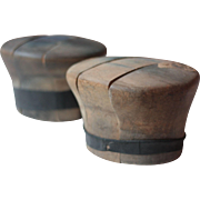 Pair of Antique French Solid Wood Milliners Hat Blocks