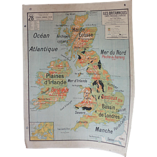 Large Vintage French School Map of the British Isles