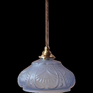 Art Deco Pendant Light in Mauve Glass