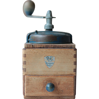 Vintage Peugeot Freres Wooden Coffee Mill in Blue and Light Wood